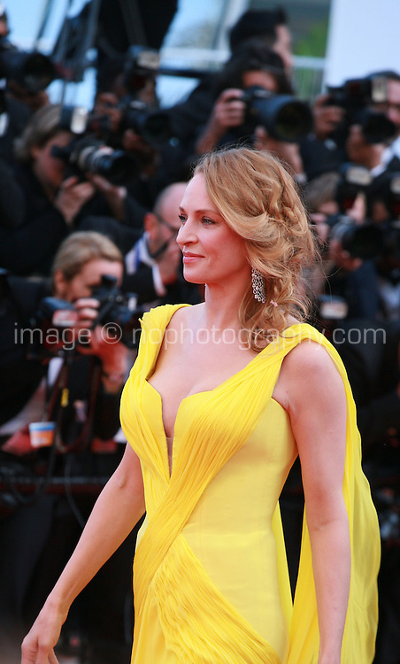 Actress Uma Thurman at Sils Maria gala screening red carpet at the 67th Cannes Film Festival France. Friday 23rd May 2014 in Cannes Film Festival, France.