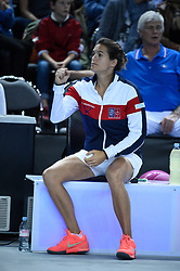French Fed Cup captain Amelie Mauresmo during the first round tie against Italy at the Palais des Sports, in Marseille, France on February 07, 2016. Photo by Corinne Dubreuil/ABACAPRESS.COM