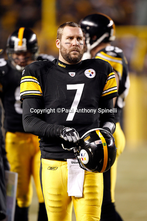 Pittsburgh Steelers quarterback Ben Roethlisberger (7) looks on during a break in the action at the NFL 2011 AFC Divisional playoff football game against the Baltimore Ravens on Saturday, January 15, 2011 in Pittsburgh, Pennsylvania. The Steelers won the game 31-24. ©Paul Anthony Spinelli
