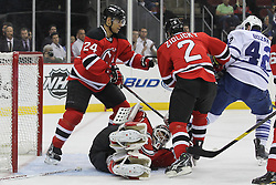 Mar 23; Newark, NJ, USA; New Jersey Devils goalie Martin Brodeur (30) makes a save on Toronto Maple Leafs center Tyler Bozak (42) during the first period at the Prudential Center.