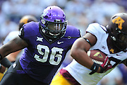 FORT WORTH, TX - SEPTEMBER 13:  Chucky Hunter #96 of the TCU Horned Frogs chases the ball against the Minnesota Golden Gophers on September 13, 2014 at Amon G. Carter Stadium in Fort Worth, Texas.  (Photo by Cooper Neill/Getty Images) *** Local Caption *** Chucky Hunter