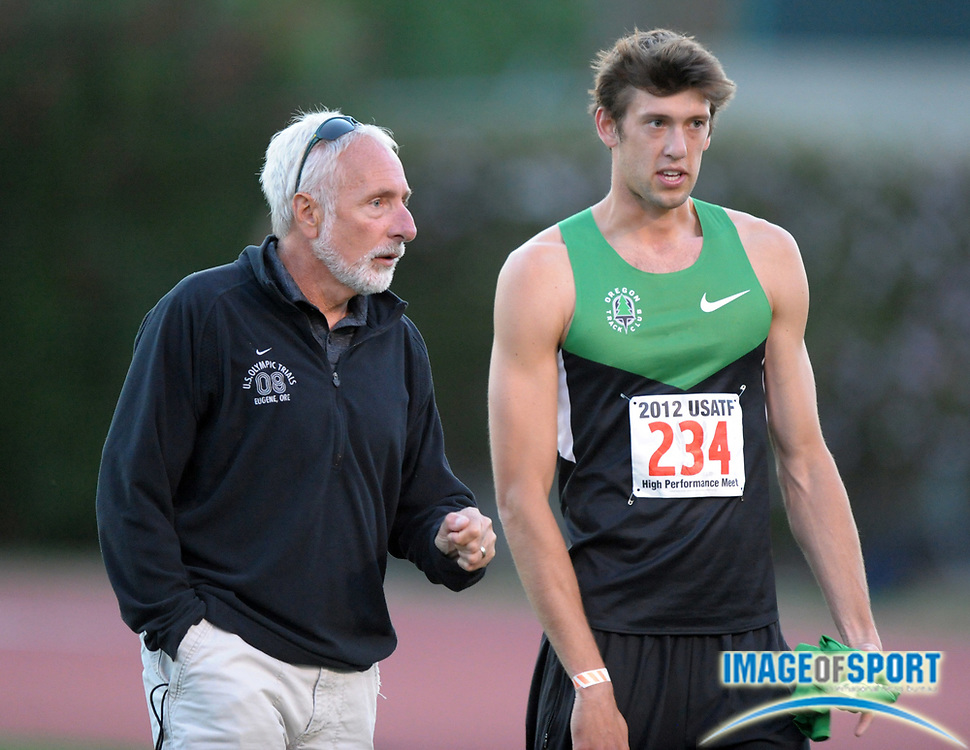 May 18, 2012; Los Angeles, CA, USA; Oregon Ducks coach Vin Lannana (left) and Andrew Wheating at the 2012 USATF High Performance meet at Occidental College.