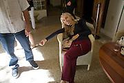 FRANCA SOZZANI, The Moncler Duck toy interpreted by artist Stuart Semple. Presented by Fraca Sozzani. Raleigh Hotel Miami Beach. 5 December 2008 *** Local Caption *** -DO NOT ARCHIVE-© Copyright Photograph by Dafydd Jones. 248 Clapham Rd. London SW9 0PZ. Tel 0207 820 0771. www.dafjones.com.