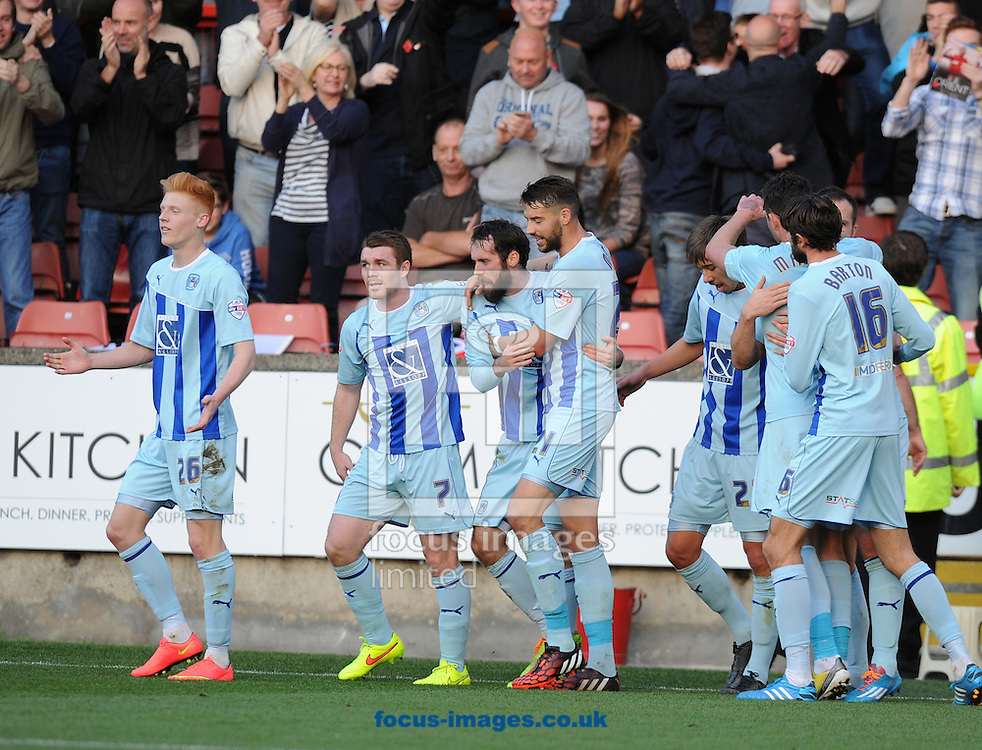 Jim O'Brien (11) of Coventry City is congratulated after scoring the opening goal by John Fleck (7) and Aaron Martin (21)during the Sky Bet League 1 match at the Matchroom Stadium, London<br /> Picture by Alan Stanford/Focus Images Ltd +44 7915 056117<br /> 01/11/2014