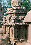 Monuments at Mahabalipuram UNESCO World Heritage Site in Kancheepuram  in state of Tamil Nadu, now Mamallapuram, India
