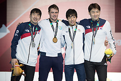 JAKARTA, Aug. 19, 2018  Gold medalist Alexanin Dmitriy (2nd L) of Kazakhstan and silver medalist Park Sangyoung (1st L) of South Korea pose for group photos during the awarding ceremony of Men's Epee Individual Gold Medal Bout of the 18th Asian Games in Jakarta, Indonesia, Aug. 19, 2018. (Credit Image: © Zhu Wei/Xinhua via ZUMA Wire)