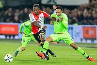 ROTTERDAM - Feyenoord - Ajax , Voetbal , KNVB Beker , Seizoen 2015/2016 , Stadion de Kuip , 25-10-2015 , Ajax speler Kenny Tete (r) in duel met Speler van Feyenoord Eljero Elia (l)