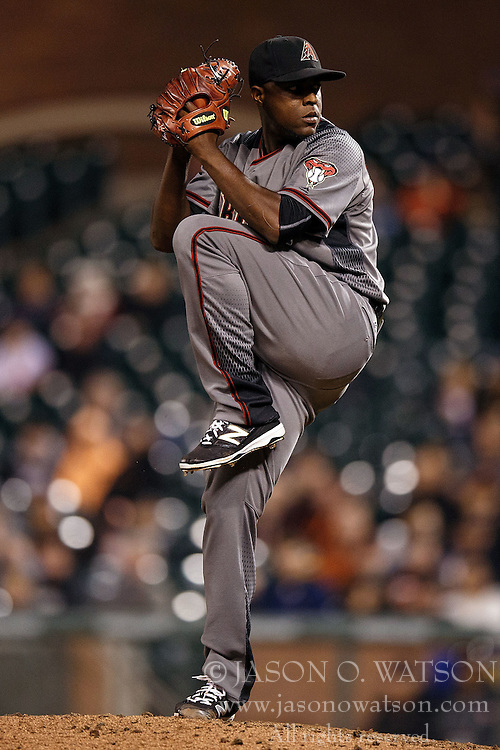 SAN FRANCISCO, CA - APRIL 18: Rubby De La Rosa #12 of the Arizona Diamondbacks pitches against the San Francisco Giants during the tenth inning at AT&T Park on April 18, 2016 in San Francisco, California. The Arizona Diamondbacks defeated the San Francisco Giants 9-7 in 11 innings.  (Photo by Jason O. Watson/Getty Images) *** Local Caption *** Rubby De La Rosa