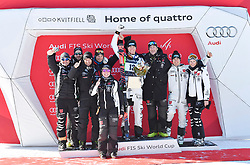 10.03.2018, Olympiabakken, Kvitfjell, NOR, FIS Weltcup Ski Alpin, Kvitfjell, Abfahrt, Herren, Flower Zeremonie, im Bild Thomas Dressen (GER) und Team // Thomas Dressen of Germany and Team during the Flowers ceremony for the men's downhill of FIS Ski Alpine World Cup in Olympiabakken in Kvitfjell, Norway on 2018/03/10. EXPA Pictures © 2018, PhotoCredit: EXPA/ Jonas Ericson