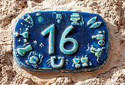 Israel, Jaffa, Ceramic numbers zodiac signs the number sixteen
