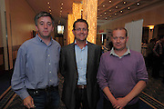 Diarmuid Keaney, ICAN Acoustics, Gerard O Neill Amárach Research  and Damien Gallagher Cookes Tatched Bar at the An Post Driving Success Roadshow at the Radisson Hotel, Galway. The event focused on practical and creative marketing techniques and saw attendees gain valuable insights into successful campaigns from leading marketing experts. Broadcaster Matt Cooper was MC at the event. .Photo:Andrew Downes