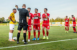 Referee with Nemanja Jakšić of Aluminij, Dejan Petrovič of Aluminij, Ilija Martinović of Aluminij during football match between NK Bravo and NK Aluminij in 5th Round of Prva liga Telekom Slovenije 2019/20, on August 9, 2019 in Sports park ZAK, Ljubljana, Slovenia. Photo by Vid Ponikvar / Sportida