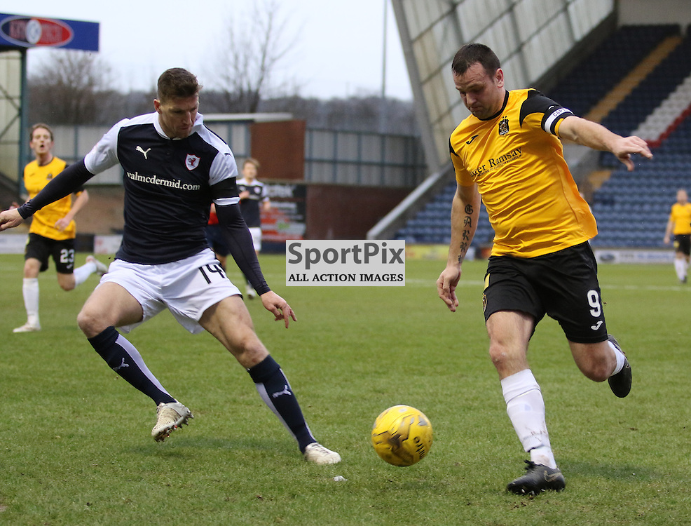 Garry Fleming whips one in  during the Raith Rovers v Dumbarton  Scottish Championship 23 January 2016<br /> <br /> (c) Andy Scott | SportPix.org.uk