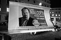 """ROME,  ITALY - 7 FEBRUARY 2013: Candidate Silvio Berlusconi (76), former Prime Minister of Italy and leader of the People of Freedom party, rallies in an Auditorium near the Vatican in Rome, Italy, on February 7, 2013.<br /> <br /> Greeted by fans, most of whom were retirees, Silvio Berlusconi said: """"Ah. it reminds me of the good old days"""", and added """"I looked at myself in the mirror and saw someone who didn't look like me. They don't make mirrors the way they used to"""".<br /> <br /> A general election to determine the 630 members of the Chamber of Deputies and the 315 elective members of the Senate, the two houses of the Italian parliament, will take place on 24–25 February 2013. The main candidates running for Prime Minister are Pierluigi Bersani (leader of the centre-left coalition """"Italy. Common Good""""), former PM Mario Monti (leader of the centrist coalition """"With Monti for Italy"""") and former PM Silvio Berlusconi (leader of the centre-right coalition).<br /> <br /> ###<br /> <br /> ROMA, ITALIA - 7 FEBBRAIO 2013: Il candidate alla Presidenza del Consiglio Silvio Berlusconi (76 anni), ex Primo Ministro e leader del Popolo della Libertà, durante un comizio all'Auditorio della Conciliazione a Roma il 7 febbraio 2013.<br /> <br /> Accolto dai suoi fans, la maggior parte dei quali pensionati, Silvio Berlusconi ha iniziato dicendo: """"Ah, come ai vecchi bei tempi"""". Ha poi aggiunto """"prima di uscire di casa mi sono guardato allo specchio e ho visto un altro da quello che mi aspettavo e ho dedotto che non fanno più gli specchi belli di una volta''.<br /> Le elezioni politiche italiane del 2013 per il rinnovo dei due rami del Parlamento italiano – la Camera dei deputati e il Senato della Repubblica – si terranno domenica 24 e lunedì 25 febbraio 2013 a seguito dello scioglimento anticipato delle Camere avvenuto il 22 dicembre 2012, quattro mesi prima della conclusione naturale della XVI Legislatura. I principali candidate per la Presidenza del Consiglio sono Pierluigi Bersani"""