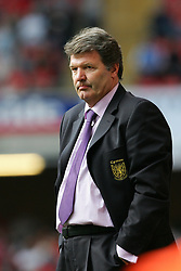 CARDIFF, WALES - SATURDAY MARCH 26th 2005: Wales' manager John Toshack looks dejected after losing 2-0 to Austria during the Wold Cup Qualifying match at the Millennium Stadium. (Pic by Jason Cairnduff/Propaganda)