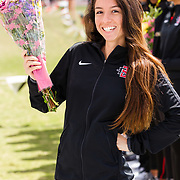 23 March 2018: San Diego State senior Cindy Flores is recognized during a seniors ceremony at  the final day of the 43rd annual Aztec Invitational.<br /> More game action at sdsuaztecphotos.com