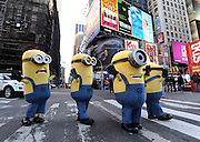 "The Minions visit New York's Times Square, Monday, Nov. 25, 2013, to celebrate the release of ""Despicable Me 2"" on Digital HD on November 26 and Blu-ray and DVD on December 10.  The Minions took over Manhattan in preparation for their appearance in the 84th annual Macy's Thanksgiving Day Parade.  (Photo by Diane Bondareff/Invision for Universal Studios Home Entertainment/AP Images)"