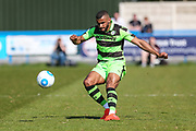 Forest Green Rovers Dan Wishart(17) crosses the ball during the Vanarama National League match between Guiseley  and Forest Green Rovers at Nethermoor Park, Guiseley, United Kingdom on 8 April 2017. Photo by Shane Healey.