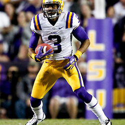 November 17, 2012; Baton Rouge, LA, USA  LSU Tigers wide receiver Odell Beckham (3) against the Ole Miss Rebels during a game at Tiger Stadium. LSU defeated Ole Miss 41-35. Mandatory Credit: Derick E. Hingle-US PRESSWIRE