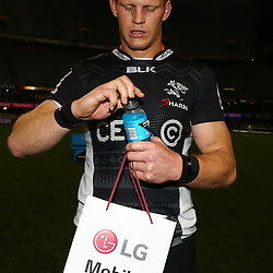 DURBAN, SOUTH AFRICA, 9,JULY, 2016 Man of the match Philip van der Walt of the Cell C Sharks during The Cell C Sharks vs Toyota Cheetahs  Super Rugby Match at Growthpoint Kings Park in Durban, South Africa. (Photo by Steve Haag)<br /> <br /> images for social media must have consent from Steve Haag