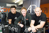 13/09/2015   Ronan Loughney and Johnny O Connor from AR (AthleticRelease.com) with Hector OhEochagain  at the official opening of the body works  a gym in Galway city.<br /> Photo:Andrew Downes, xposure<br /> The Body Works Galway is Galway&rsquo;s newest fitness studio. We are located adjacent to Parkmore in Briarhill Business park about a seven minute walk from the Parkmore Industrial Estate and Briarhill Shopping Centre.<br /> <br /> The fitness studio consists of a spinning studio at ground floor and a fitness studio at first floor where we provide classes in Kettlebells, Pilates, Yoga,TRX, Body Pump and Circuits . We have 16 spinning bikes (cardio machines) in our spinning studio.