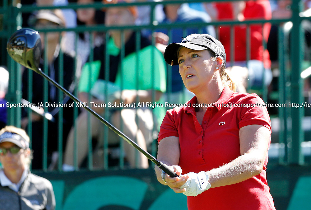 10 Jul 2016: Cristie Kerr watches her tee shot at Hole 1 during the LPGA-US Women's Open at CordeValle Golf Club in San Martin, CA. (Photo by Larry Placido/Icon Sportswire)