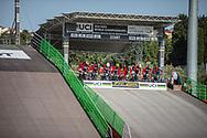 during practice at the 2018 UCI BMX World Championships in Baku, Azerbaijan.