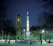 Morristown, New Jersey Green in snow with the Civil War monument.