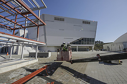 October 30, 2017 - Pyeongchang, Gangwon, South Korea - Oct 30, 2017-Pyeongchang, South Korea-Workers build a facility near Gangneung Hockey Centre in Gangneung, South Korea, the venue for ice hockey in the Pyeongchang Winter Olympics in February 2018. (Credit Image: © Ryu Seung Il via ZUMA Wire)