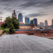View of downtown Kansas City MO skyline from top of roof between Wyandotte and Baltimore Streets.