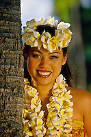 Hula dancer, Waikiki Beach, Honolulu, Oahu, Hawaii USA