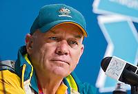 Londen - De Australische hockey bondscoach Rick Charlesworth dinsdag tijdens de persconferentie na de Olympische wedstrijd tussen Australie en Pakistan.  ANP KOEN SUYK