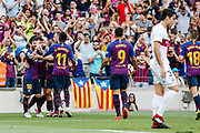 Lionel Messi of FC Barcelona celebrates a goal with teammates during the Spanish championship La Liga football match between FC Barcelona and Huesca on September 2, 2018 at Camp Nou Stadium in Barcelona, Spain - Photo Xavier Bonilla / Spain ProSportsImages / DPPI / ProSportsImages / DPPI