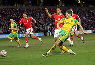 London - Saturday, January 12th, 2008: Ched Evans of Norwich City scoes his goal to equalise during the Coca Cola Champrionship match at Oakwell, Barnsley. (Pic by Paul Hollands/Focus Images)