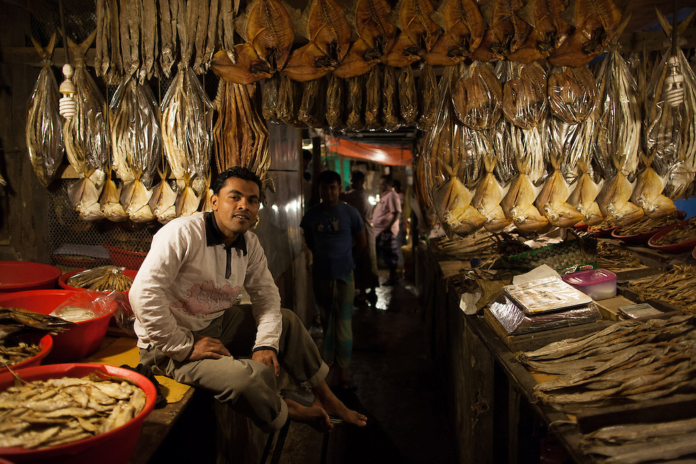Deep in a shopping complex on Chittagong's station road, is a fish market that sells dried and fresh fish deep into the night.