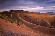 Evening light over the volcanic vent crater at the top of the Cinder Cone, Lassen Volcanic National Park, California