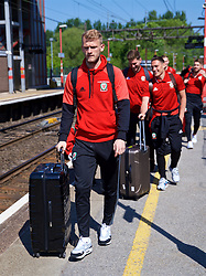 RUNCORN, ENGLAND - Tuesday, May 22, 2018: Wales' goalkeeper Adam Davies at Runcorn Station as the squad travel by train as they head to Heathrow for a flight to Los Angeles ahead of the international friendly match against Mexico. (Pic by David Rawcliffe/Propaganda)