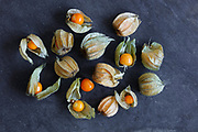 Arrangement of physalis fruit, Cape Gooseberries, on natural slate background - centered group