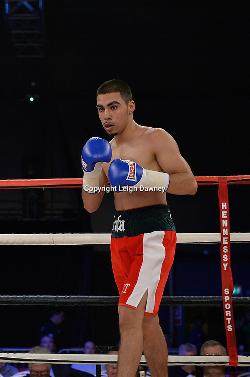 Yusuf Safa defeats Antonio Horvatic in a super featherweight boxing contest at Glow, Bluewater, Kent on the 8th November 2014. Promoter: Hennessy Sports. © Leigh Dawney Photography 2014.