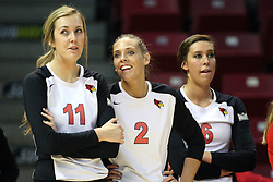 02 November 2012: Eliza Smith, Leighann Hranka, and Brooklyn Hlafka during an NCAA womens volleyball match between the Missouri State Bears and the Illinois State Redbirds at Redbird Arena in Normal IL