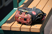 ANAHEIM, CA - MAY 4:  A baseball glove sits on a bench at the Los Angeles Angels of Anaheim game against the Baltimore Orioles on Saturday, May 4, 2013 at Angel Stadium in Anaheim, California. The Orioles won the game 5-4 in ten innings. (Photo by Paul Spinelli/MLB Photos via Getty Images)