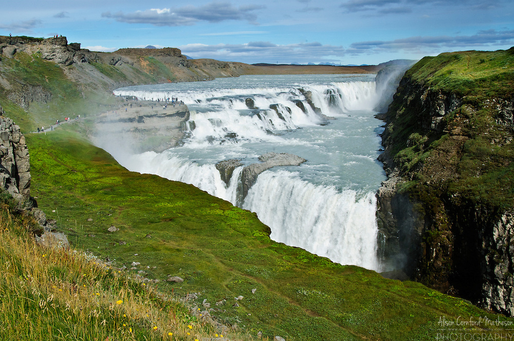 The Hvítá River cascades over Gullfoss waterfall in Iceland.