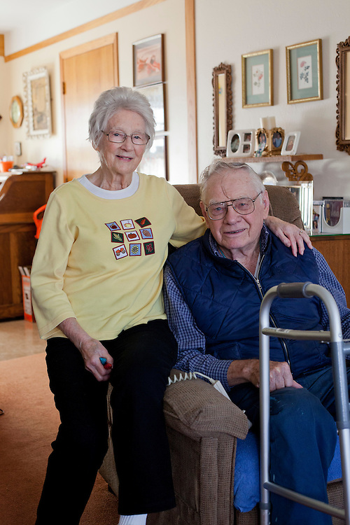 Catherine and Marvin Hoppenworth pose for a photo after receiving their Meals on Wheels delivery in Cedar Rapids, Iowa on Thursday, November 19, 2015. The Hoppenworths are new to the program, but say they've come to depend on the daily lunches since making meals for themselves has become more challenging. (Rebecca F. Miller/Freelance for The Gazette)
