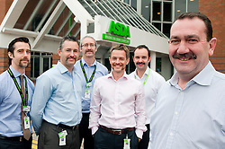 Grocery Director Ade McKeon (Right) the driving force behind Movember at Asda House Leeds, with (left to right) Ed Smith, Ged Futter, Russell White, Chris Silcock and Stuart Menzies, Just a few of the colleagues he persuaded to take part. The aim of Movember is to raise funds and awareness for men's health, especially cancers that affect men...28 November 2011  Image © Paul David Drabble