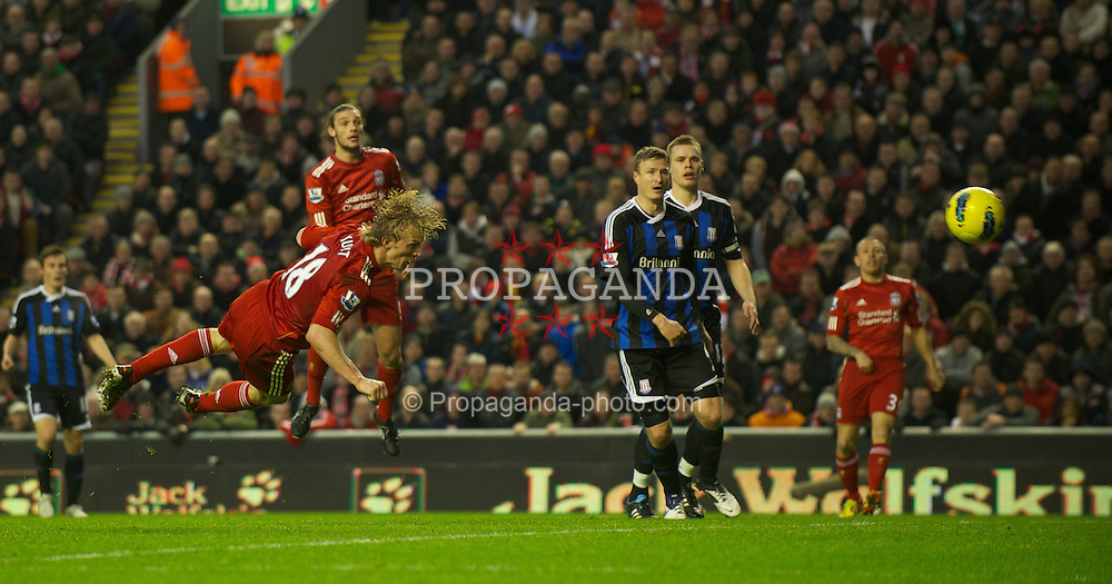 LIVERPOOL, ENGLAND - Saturday, January 14, 2012: Liverpool's Dirk Kuyt misses a great chance during the Premiership match against Stoke City at Anfield. (Pic by David Rawcliffe/Propaganda)