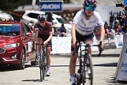 Kasia Niewiadoma (POL) crosses the finish line at Amgen Tour of California Women's Race empowered with SRAM 2019 - Stage 2, a 74 km road race from Ontario to Mount Baldy, United States on May 17, 2019. Photo by Sean Robinson/velofocus.com