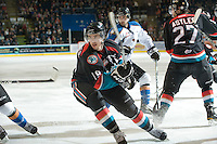 KELOWNA, CANADA, NOVEMBER 25: Brett Bulmer #19 of the Kelowna Rockets skates on the ice as the Kootenay Ice visit the Kelowna Rockets  on November 25, 2011 at Prospera Place in Kelowna, British Columbia, Canada (Photo by Marissa Baecker/Shoot the Breeze) *** Local Caption *** Brett Bulmer;