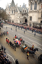 The Funeral procession of former British Prime Minister Margaret Thatcher passes by the High Court in central London, UK, Wednesday 17 April, 2013, Photo by: Shaun Curry / i-Images