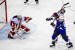 22-02-2018 KOR: Olympic Games day 13, PyeongChang<br /> Final Ice Hockey Canada - USA 2-3 / Monique Lamoureux-Morando #7 of the United States, Melodie Daoust #15 of Canada, Shannon Szabados #1 of Canada
