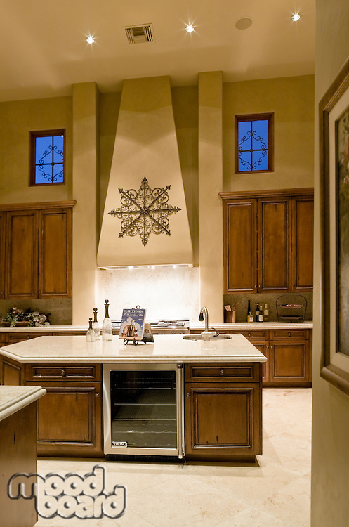 View of exquisite kitchen counter in luxury villa